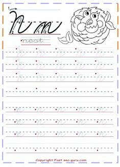 cursive handwriting tracing worksheets letter n for nest - Printable Coloring Pages For Kids