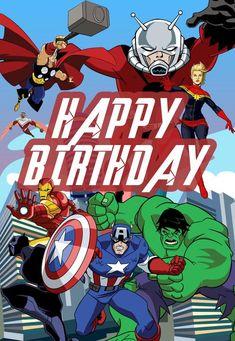 Free Printable Birthday Cards, Birthday Card Template, Birthday Invitation Templates, Birthday Party Invitations, Free Printables, Superman Birthday, Avengers Birthday, Superhero Birthday Party, Birthday Cake