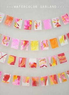 Fall Preschool Art Activities: Liquid Watercolor Q-Tip Painting Garland Diy And Crafts, Crafts For Kids, Arts And Crafts, Paper Crafts, Hero Crafts, Q Tip Art, Projects For Kids, Art Projects, Diy Banner