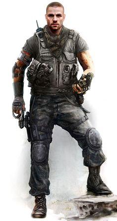 "MotorStorm Apocalypse ""Sarge""; human male soldier; shadowrun, cyberpunk"