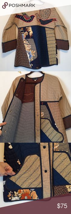 bf89d5f521361 Vintage Quilted bird jacket size small Bohemian Japanese style quilted  jacket with a cool bird patch