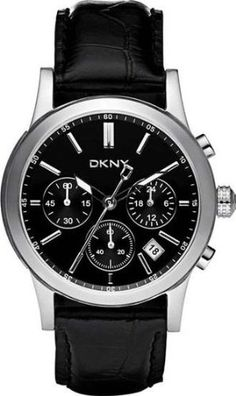 DKNY Womens Chronograph Stainless Watch – Black Leather Strap – Black Dial – NY8190