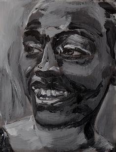 Tim Dayhuff - painting - black and white acrylic on internet photocopy on panel - 2013