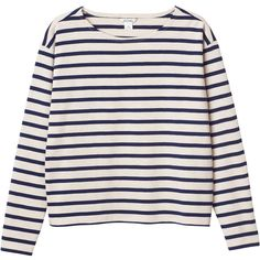 Monki Polly top ($28) ❤ liked on Polyvore featuring tops, sweaters, shirts, no moon blue, stripe shirt, shirts & tops, striped top, long sleeve stripe shirt and long sleeve tops