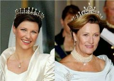 Martha Louise & Queen Sonja Wearing The Same Tiara. Center Piece Removed.