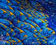 Viviendo en Aguas Azules. Large acrylic painting 120x150cm. Depicting tropical fish faces with human like eyes. Vivid, bright bold colors.   ArtsyHome