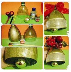 Kerstklok van een plastic fles.  AK