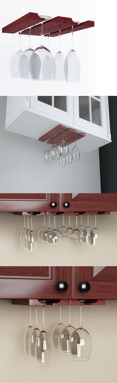 Lovely Wood Under Cabinet Wine Glass Rack