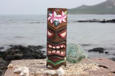 """Tiki Totem 6"""" w/ Flowers - Hand Carved & Painted"""
