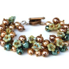 Mint Green Flowers and Golden Brown Pearl Cluster Bracelet