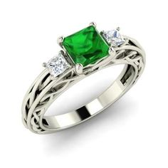 Engagement Rings - Bisque - Emerald Engagement Ring in Yellow Gold with VS Diamond ct. Princess Cut Engagement Rings, Three Stone Engagement Rings, Diamond Engagement Rings, Diamond Rings, Gold Rings, Natural Emerald Rings, Irish Jewelry, White Gold Jewelry, Beautiful Rings