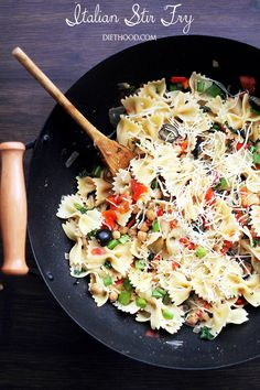 Italian Stir Fry | www.diethood.com | An incredibly delicious vegetarian dinner with fresh vegetables and beans quickly cooked in a wok, tossed with bow tie pasta, fresh herbs, and cheese. Quick, healthy and easy!
