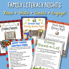Five different family literacy nights in five different themes: Camping, the movies, superheros, pirates, and dreaming!