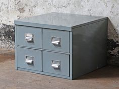 View our Vintage Metal Filing Cabinet from the collection Repurposed Furniture, Vintage Furniture, Interior Accessories, Vintage Metal, Wooden Boxes, Storage Solutions, Filing Cabinet, Drawers, Antiques