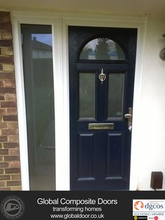 4 Panel 2 Square Glazed Composite Front Door in White | Composite ...