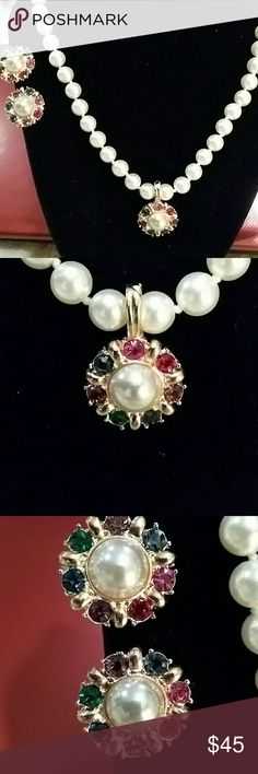 Vintage Roman Faux Pearl w/Enhancer Set Vtg Roman Signed 18 inch Faux Pearl Rhinestone Necklace Earrings Enhancer Set Signed 3 piece set No trades or try ons Vintage Roman Jewelry Necklaces