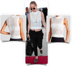 Jennifer Lawrence is wearing the Theory Sweater Tank white top, by Mayleen Roping. Used to be  $265.47, now on SALE for $195.35 at Bloomingdales.