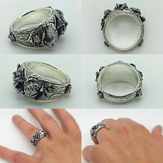Handcrafted RAW Modern Meteorites Silver Ring Love Inspired