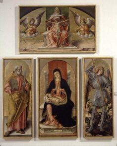 Bartolomeo Vivarini - Madonna con Bambino in trono e Santi e Trinità (Polittico di Scanzo) - 1488 - Bergamo, Accademia Carrara