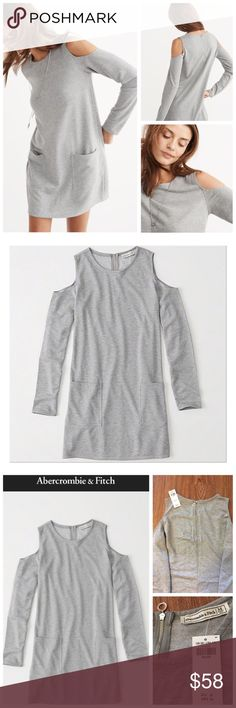 """NWT Abercrombie & Fitch Fleece Shift Dress {Gray} 📦Same day shipping (as long as P.O. is open for business). ❤ Measurements are approximate. Descriptions are accurate to the best of my knowledge.  This gray cold shoulder shift dress from Abercrombie & Fitch has 2 front pockets, a crew neckline and a back silver-toned zipper. Perfect medium-weight material for in between seasons: 76% polyester, 24% viscose. Super soft to the touch. Flat measurements: 18.5"""" across chest, 34"""" long. Smoke/pet…"""