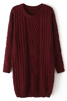 ROMWE Ribbed Knitted Claret Long Jumper