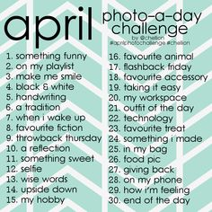 APRIL PHOTO CHALLENGE 2015 up on my blog! Being organised this year and getting in early!!