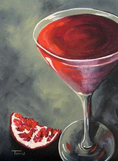 Pomegranate Martini Painting by Torrie Smiley - Pomegranate Martini Fine Art Prints and Posters for Sale