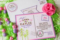 LOVE THESE INVITATIONS from this Glamping themed birthday party Full of REALLY CUTE IDEAS via Kara's Party Ideas! full of decorating ideas, cakes, favors, printables, games, and more! KarasPartyIdeas.com #glamping #glampingparty #indoorcamping #camping #marshmallowroast #partyideas #partystyling #partyplanning