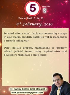 #Numerology predictions for 8th February'16 by Dr.Sanjay Sethi-Gold Medalist and World's No.1 #AstroNumerologist .