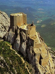 "Château de Quéribus, Cucugnan, Aude, Languedoc, France... www.catharcountry.info ... Cathar Castle, This is what Queribus looks like today. .... Cathar Castles Tours is now taking bookings for 2018. ... This is one of the ""Five Sons of Carcassonne"", along with Termes, Aguilar, Peyrepertuse and Puilaurens: five castles strategically placed to defend the new French border against the Spanish. It lost all strategic importance after the Treaty of the Pyrenees in 1659."