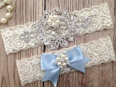 Something Blue, Blue Garter Set, Wedding Garter Set, Garter Set, Rhinestones and…