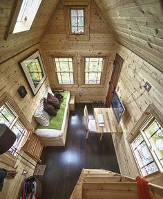 Mini casa de madera de solo 16 metros cuadrados