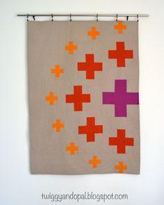 Twiggy and Opal: Modern Plus Sign Quilts :: Book Blog Hop #twiggyandopal #plusquilt #graphicquilt #modernquilting