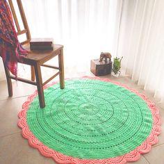 Minty Pink Crochet Rug
