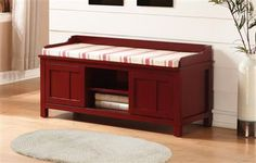 Lakeville Red Wood MDF Plastic Storage Bench