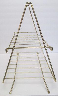 Vintage 1960s Metal Wire Magazine Rack - Retro Triangle Stand w/Atomic Ball Feet