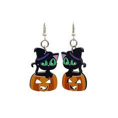 Wood Images, Cute Black Cats, Cute Bee, Halloween Make, Earring Tree, Jewelry Tree, Wood Earrings, Handmade Items, Smooth