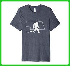 Mens Nebraska State Pride Vintage Bigfoot Hunter Premium T-shirt 2XL Heather Blue - Cities countries flags shirts (*Amazon Partner-Link)