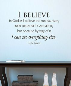 CS Lewis 'I Believe' Wall Quotes Decal