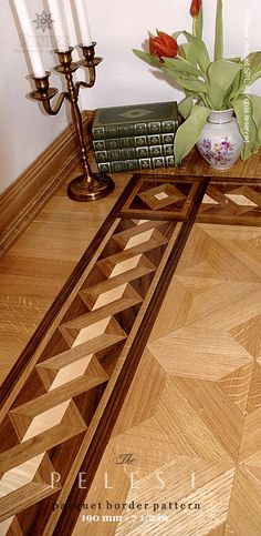 The PELES I hardwood floor border pattern. manufactured by Pavex Parquet - http://www.pavexparquet.com/hardwood-floor-border-inlays.htm