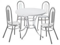 Conjunto de Mesa Aço cromado com 4 Cadeiras - Móveis Carraro Vilma