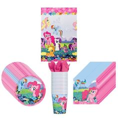 My Little Pony Party Supplies Pack Including Plates, Cups, Napkins and Tablecover - 16 Guests Friendship Party, My Little Pony Friendship, My Little Pony Decorations, My Little Pony Birthday Party, 3rd Birthday, Birthday Ideas, Balloons And More, Happy Party, Kids Party Supplies