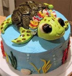 Sea Turtle ocean / sea Birthday cake for-the-girls 7 Pretty Cakes, Cute Cakes, Beautiful Cakes, Amazing Cakes, Unique Cakes, Creative Cakes, Marzipan, Cake Pops, Sea Cakes