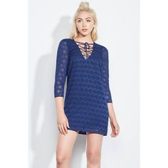 Ali & Jay Paradise Cove Dress ($128) ❤ liked on Polyvore featuring dresses, navy, short, navy blue short dress, blue v neck dress, blue chiffon dress, lace up dress and navy dress