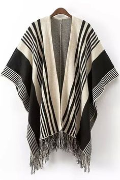 China wholesale and retail fashion like Cotton Tassels Women Cardigan striped black Free Siz are all available on YYW. Striped Cardigan, Black Cardigan, Knit Cardigan, Fringe Cardigan, Knit Shirt, Open Cardigan, Long Sweaters For Women, Cardigans For Women, Capes For Women
