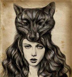 mujer-con-lobo-en-la-cabeza