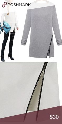 """Long Sleeve Dress Long Sleeve Dress with side zip. Size medium. Length 31"""", Bust up to 40"""", Sleeves 22"""". In both gray and white. Tops Tees - Long Sleeve"""