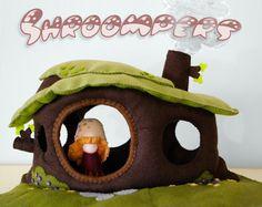 Waldorf inspired stuffed tree stump dollhouse with felt