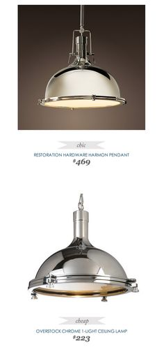 Overstock Chrome Ceiling Lamp - $223