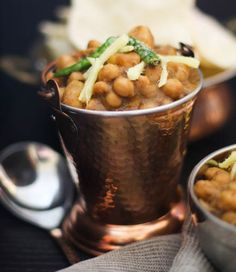 Chole Aloo - Chickpeas & Potatoes, a delicious combination of earthy, nutty chickpeas and starchy potatoes served with fried bread. Best Lentil Recipes, Indian Food Recipes, New Recipes, Recipies, Vegan Recipes, Lentils, Chickpeas, Bean Casserole, Fruits And Veggies